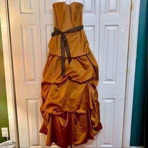 Copper satin ball gown with black satin sash